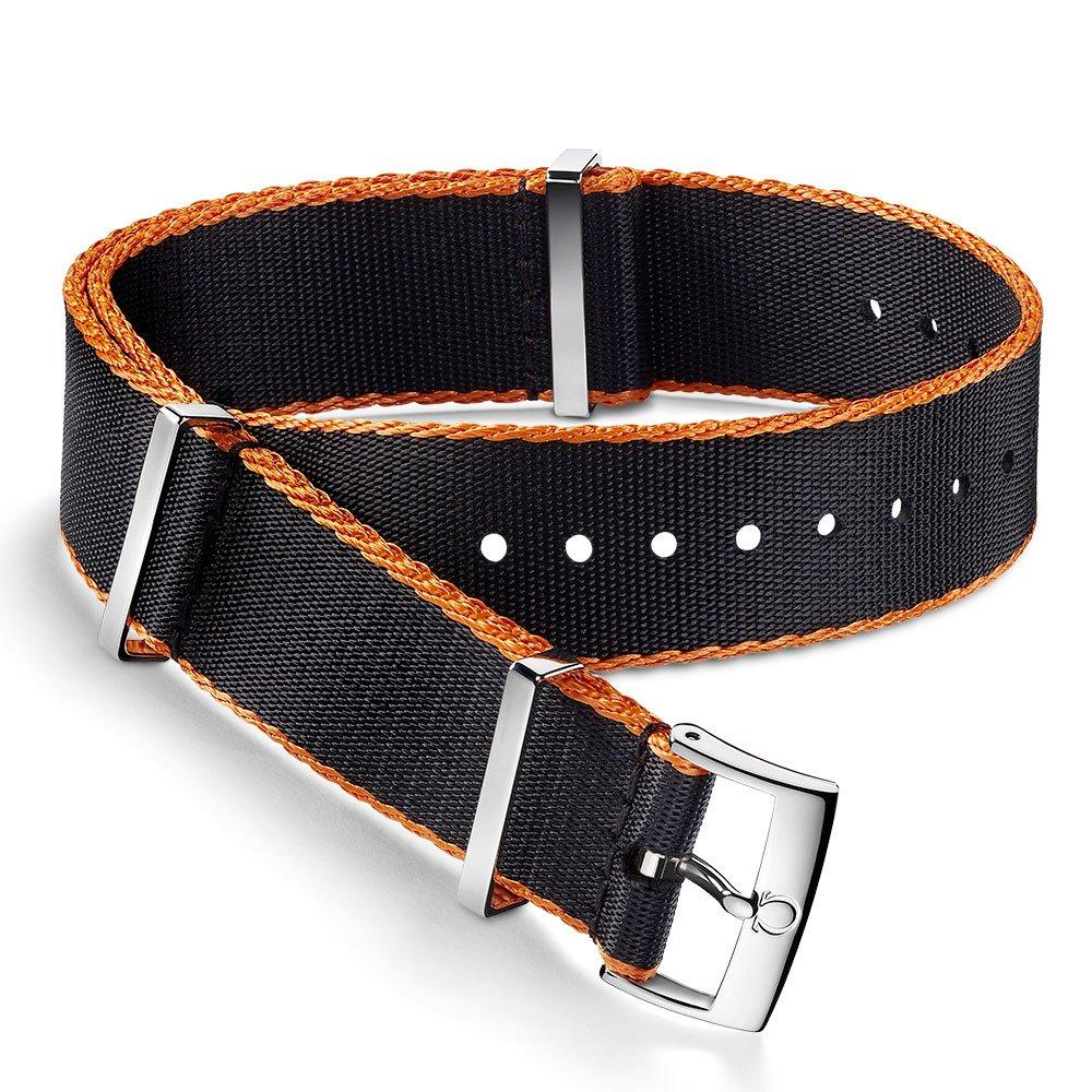 OMEGA Black and Orange Nato Watch Strap
