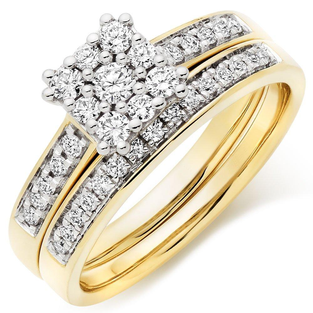 18ct Gold Diamond Cluster Ring Bridal Set