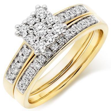 18ct Gold Diamond Ring Set