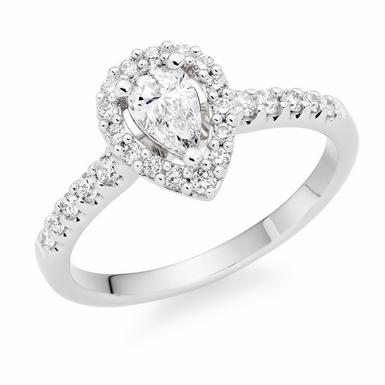 Platinum Diamond Pear-Shaped Halo Ring