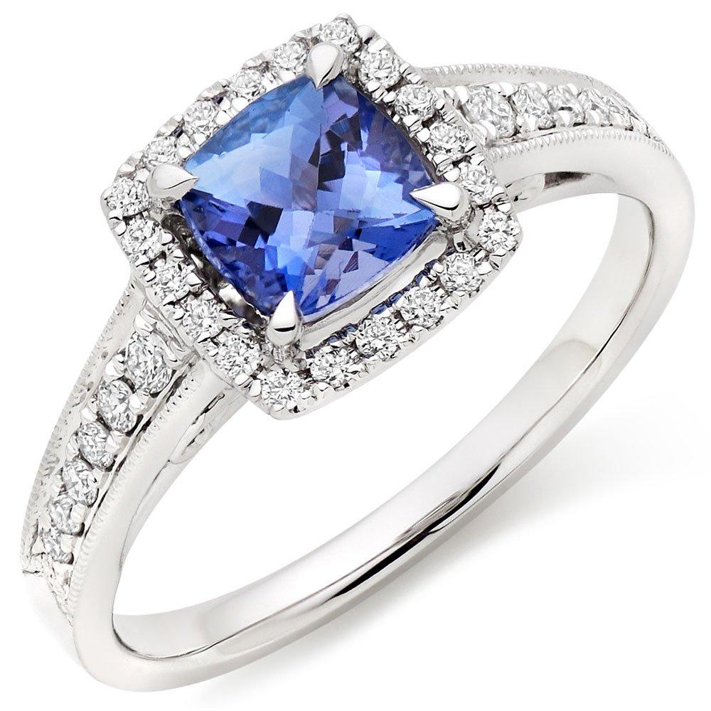 18ct White Gold Diamond Tanzanite Halo Ring