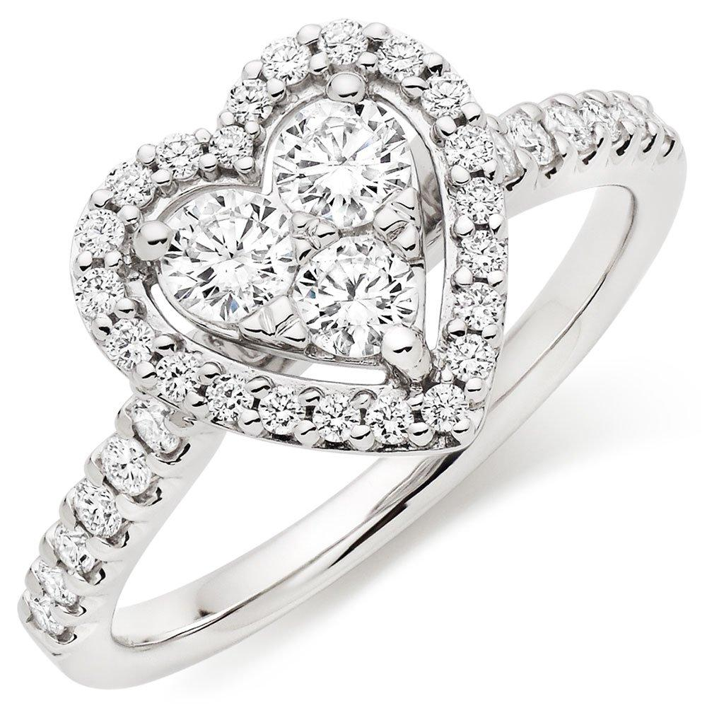 Platinum Diamond Heart Cluster Ring