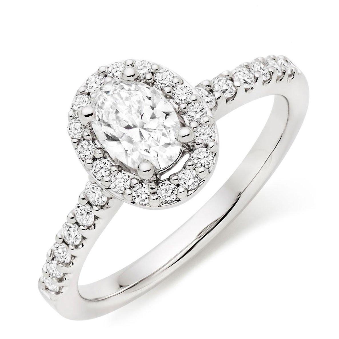 Platinum Diamond Oval-Shaped Halo Ring