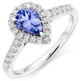 18ct White Gold Diamond Tanzanite Pear Shaped Halo Ring