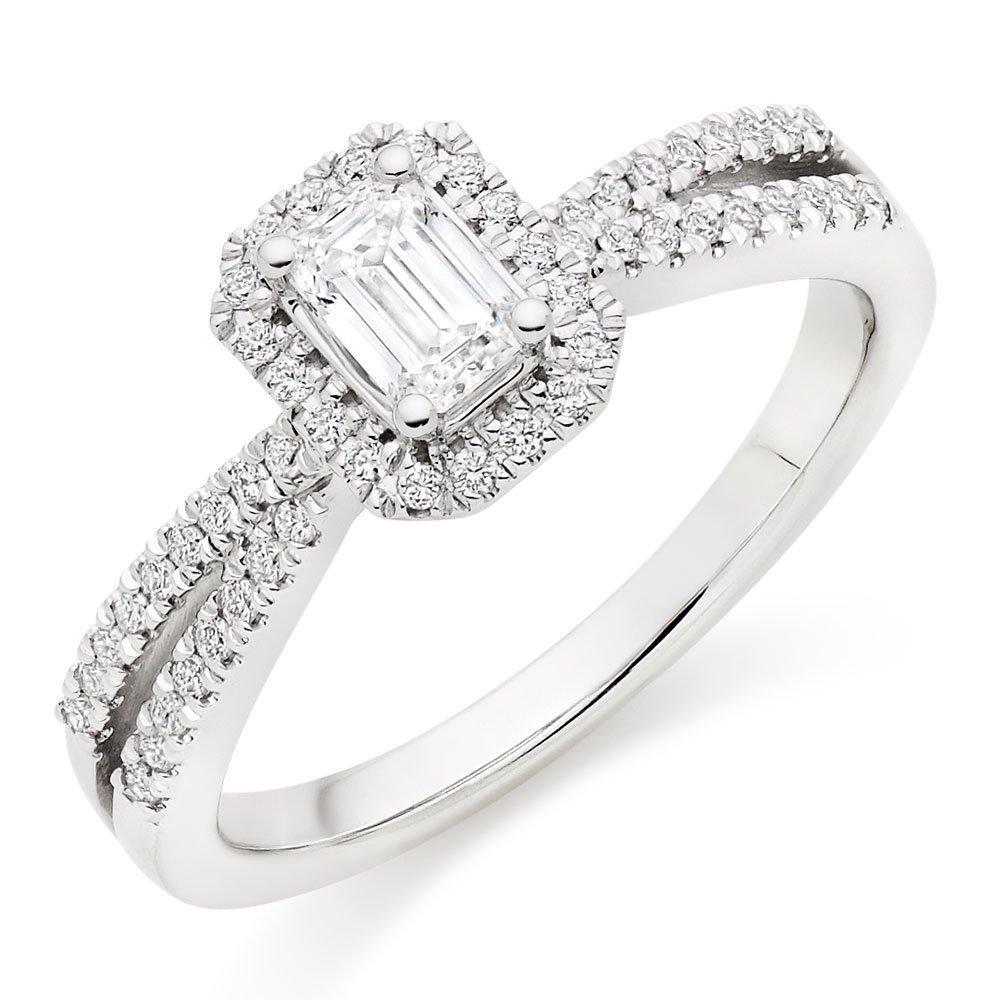 18ct White Gold Diamond Emerald Cut Halo Ring