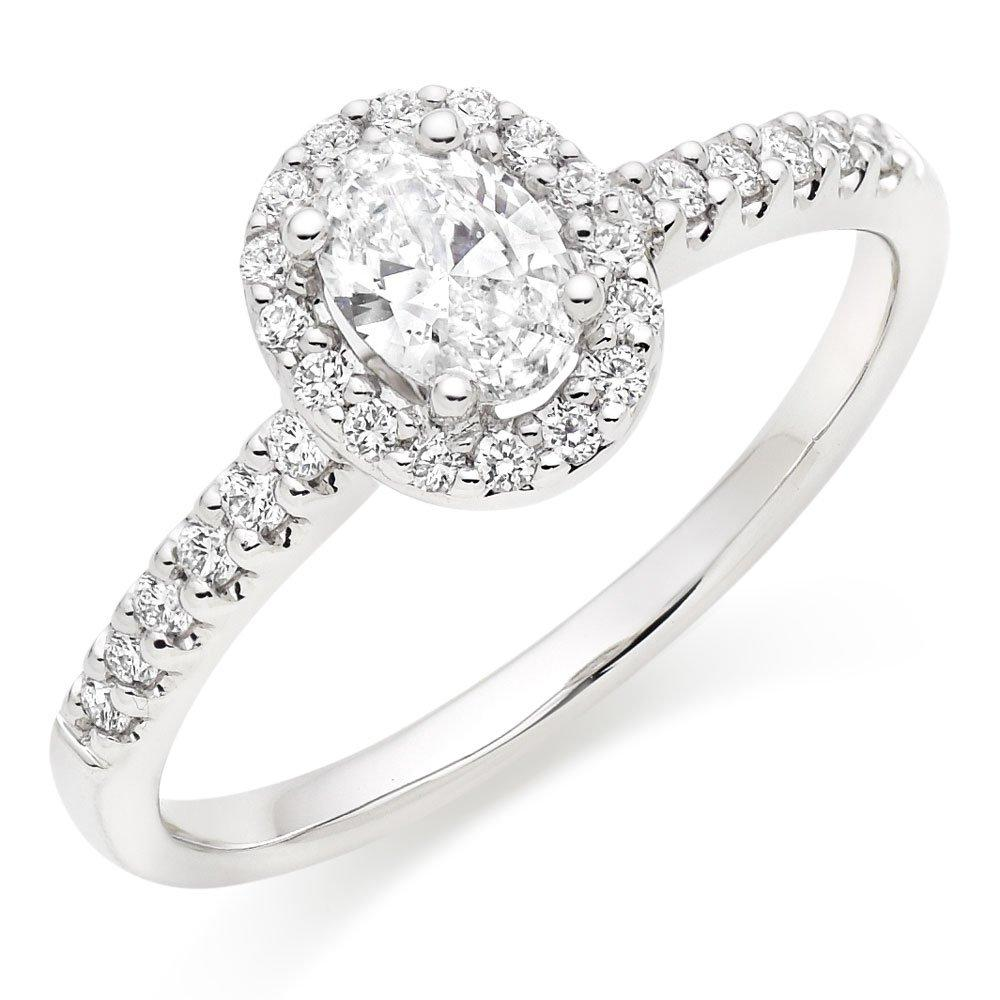 18ct White Gold Diamond Oval-Shaped Halo Ring