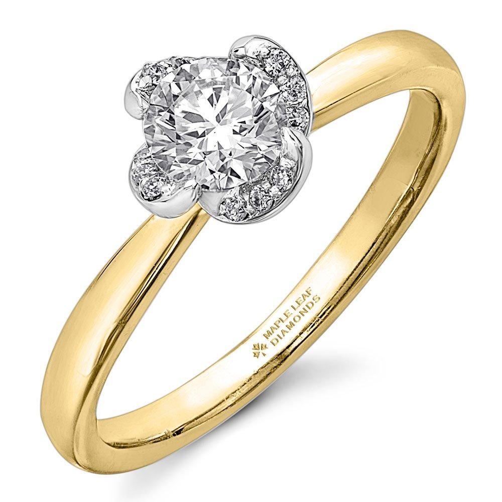 Maple Leaf Diamonds Wind's Embrace 18ct Gold and White Gold Diamond Solitaire Ring