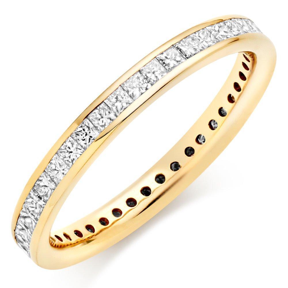 18ct Gold Diamond Princess Cut Eternity Ring