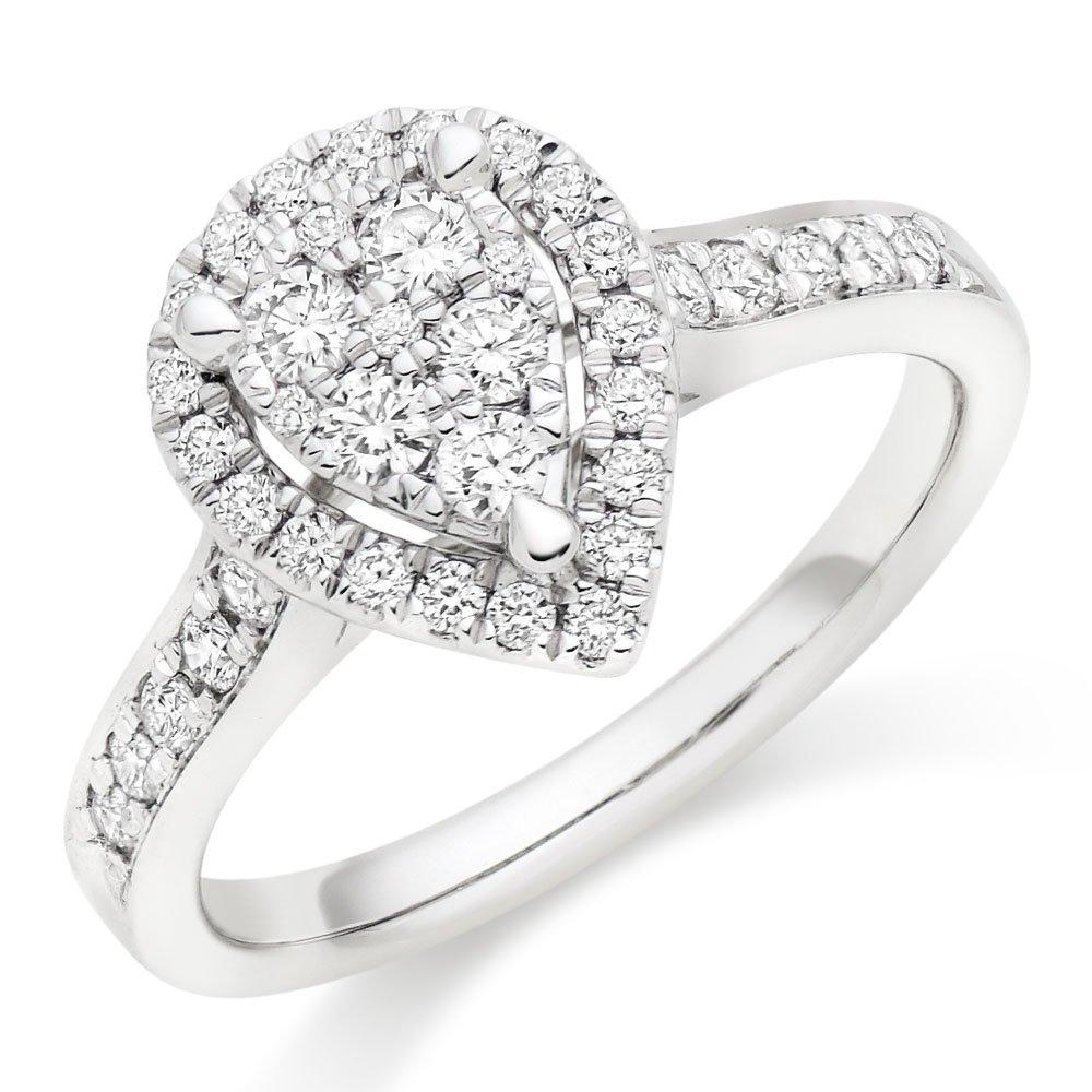 Platinum Diamond Pear-Shaped Cluster Halo Ring