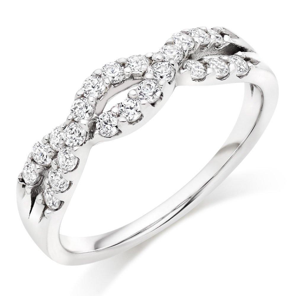 18ct White Gold Diamond Half Eternity Wave Ring