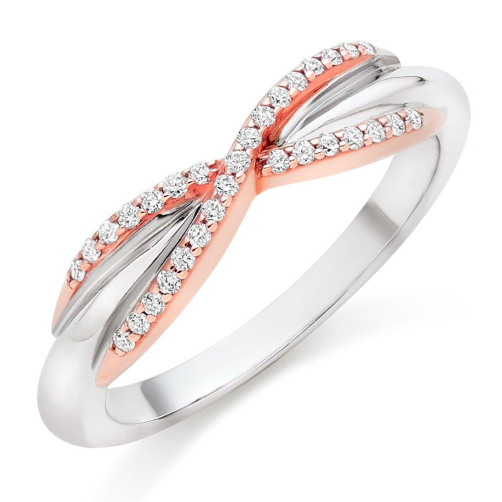 18ct White Gold & Rose Gold Diamond Infinity Ring