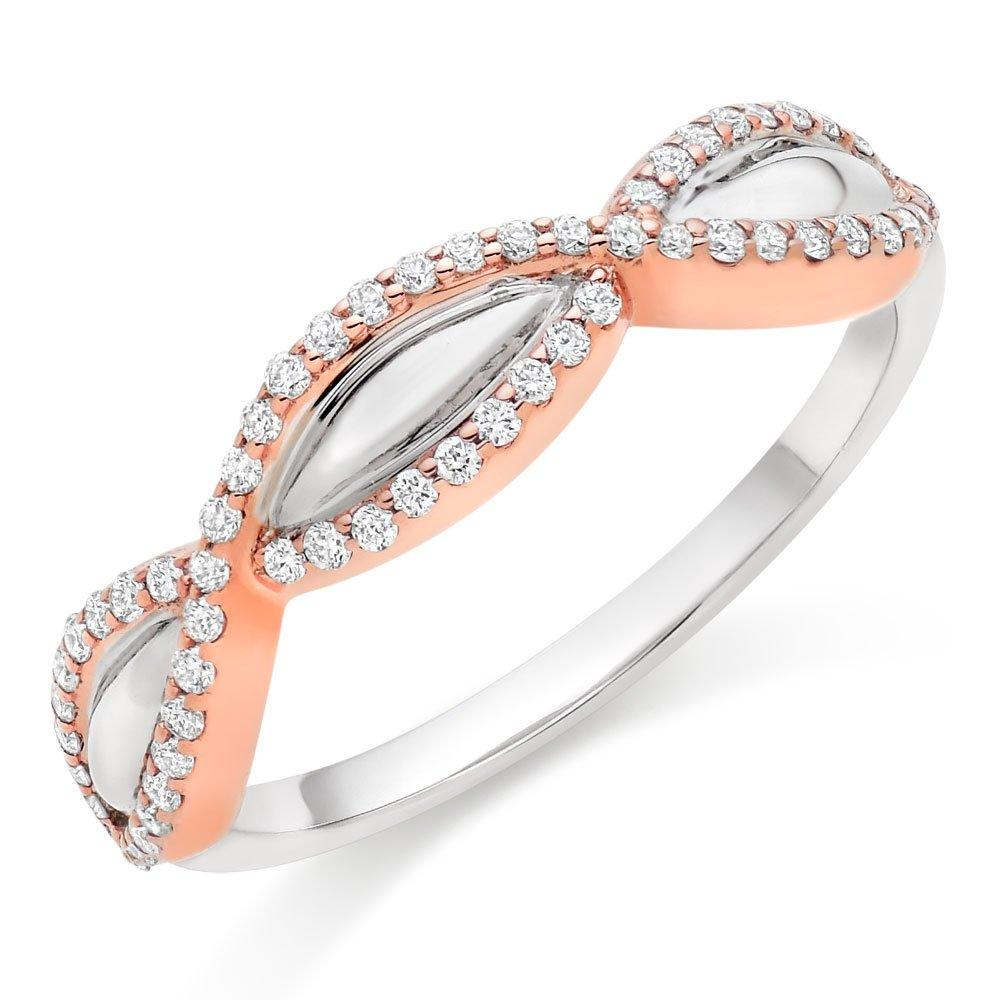 18ct White Gold And Rose Gold Diamond Infinity Ring