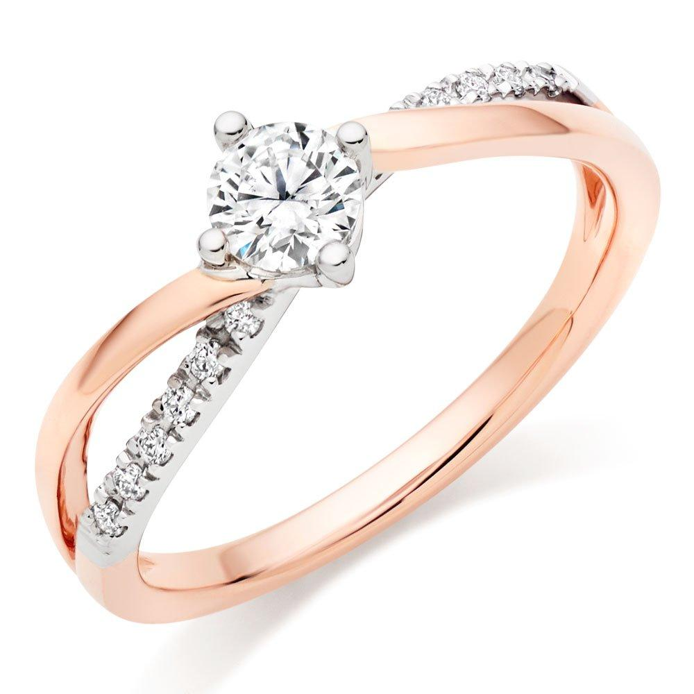 18ct Rose Gold and White Gold Diamond Solitaire Ring
