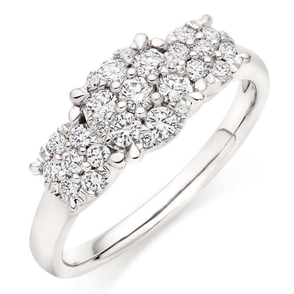 18ct White Gold Cluster Three Stone Ring
