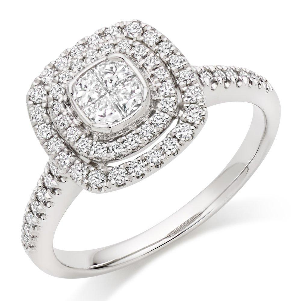 Platinum Diamond Cluster Double Halo Ring