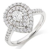 Platinum Diamond Pear Shaped Double Halo Ring