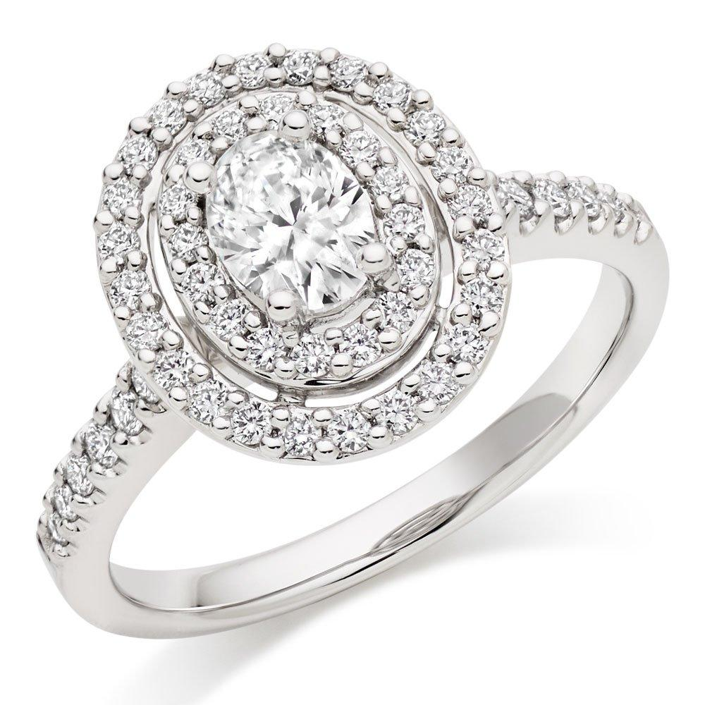 Platinum Diamond Oval-Shaped Cluster Double Halo Ring