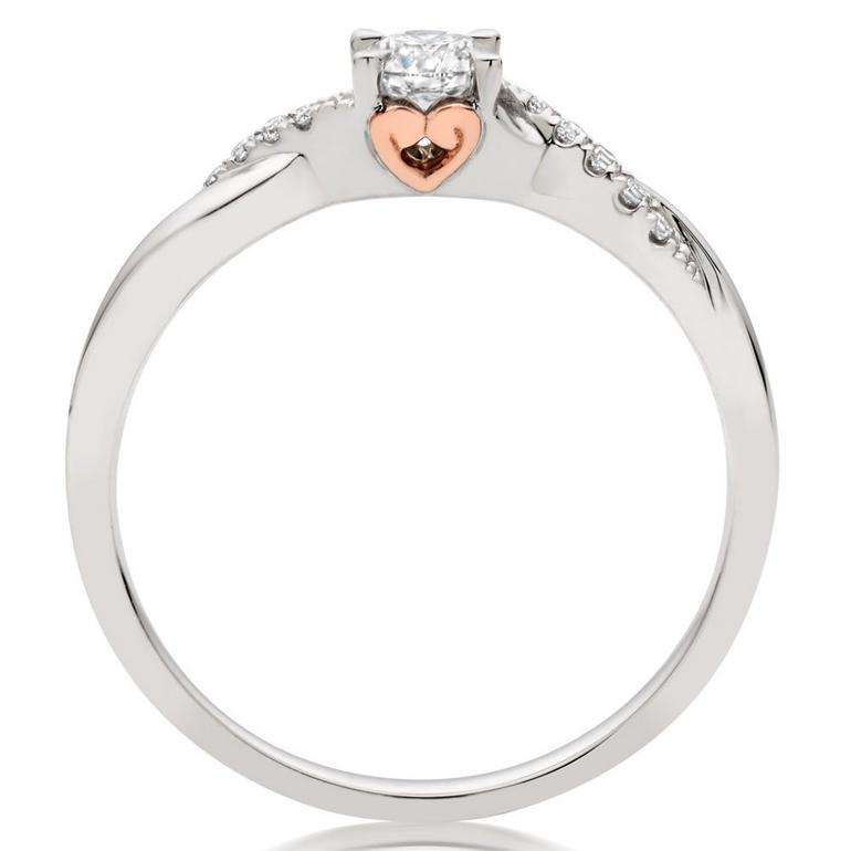 18ct White Gold and Rose Gold Diamond Rose Hearts Ring