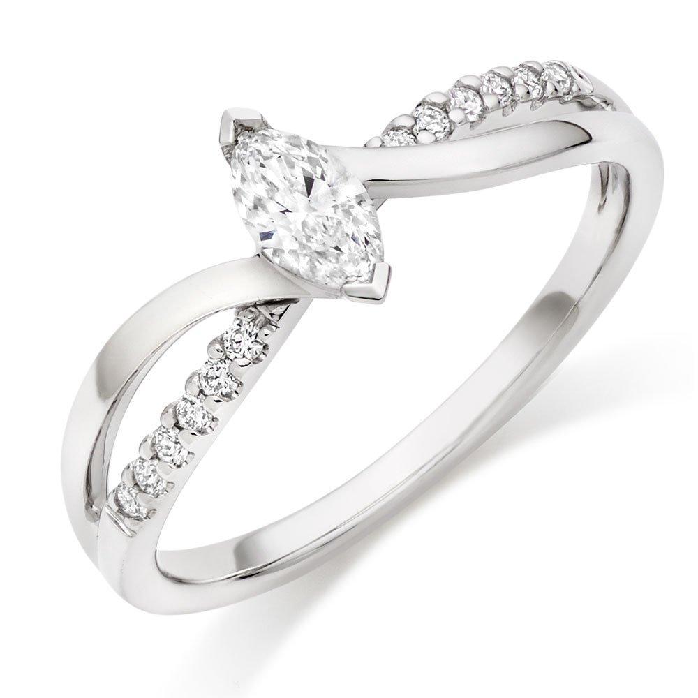 18ct White Gold Marquise Diamond Ring