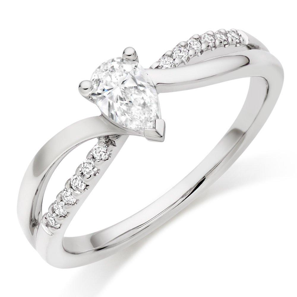 18ct White Gold Diamond Pear Shaped Solitaire Ring
