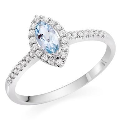 18ct White Gold Diamond Aquamarine Marquise Halo Ring