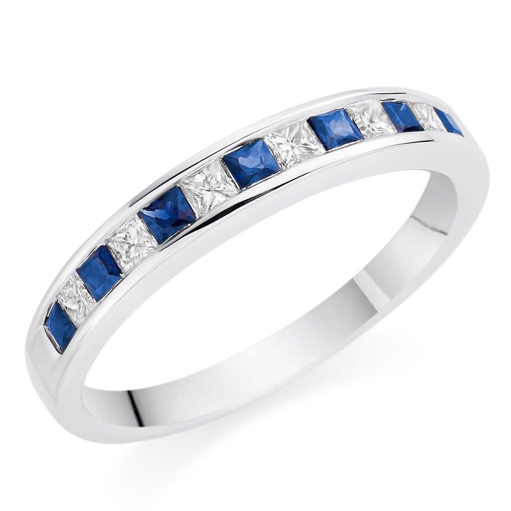 18ct White Gold Diamond Sapphire Half Eternity Ring