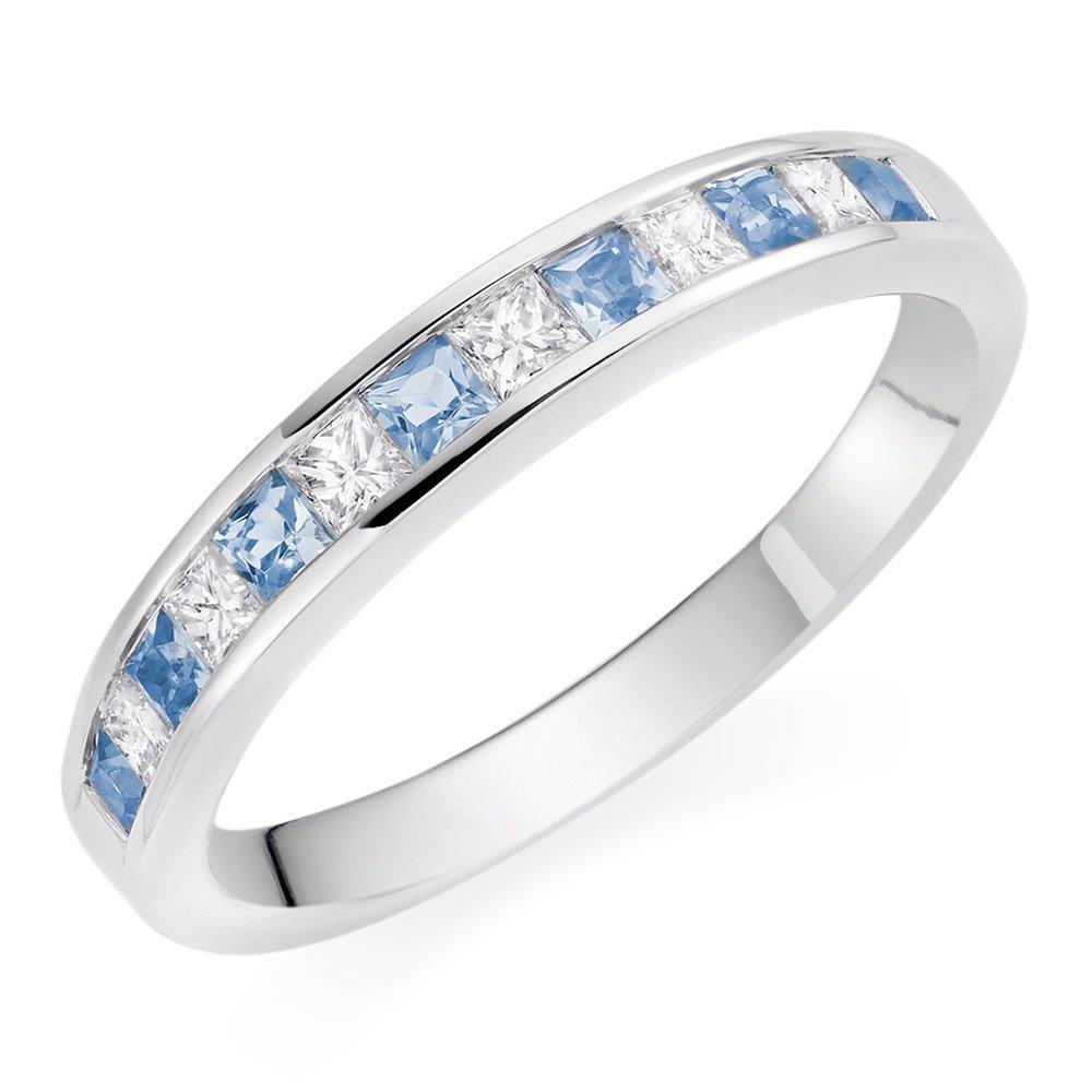 18ct White Gold Aqua Diamond Half Eternity Ring