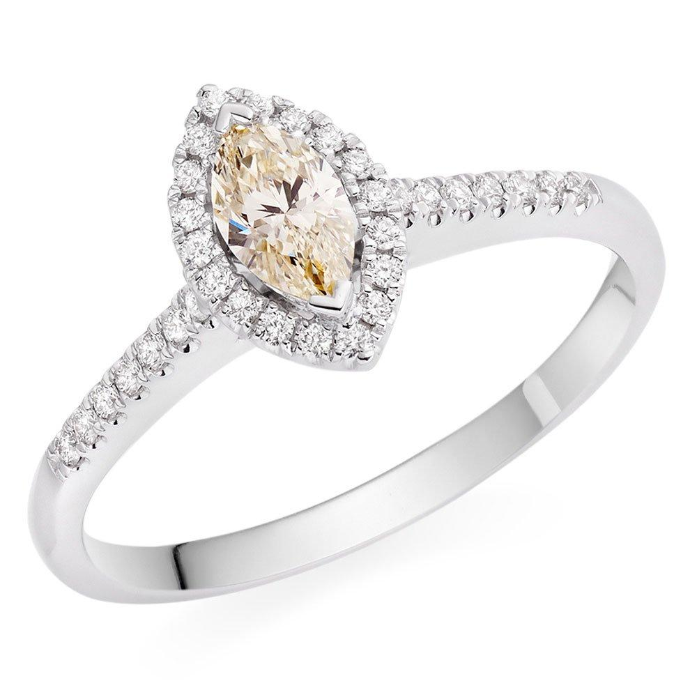 18ct White Gold Marquise Yellow Diamond Ring