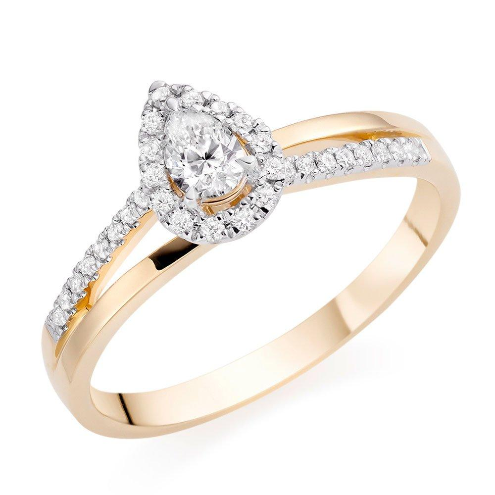 18ct Gold Pear-Shaped Diamond Ring