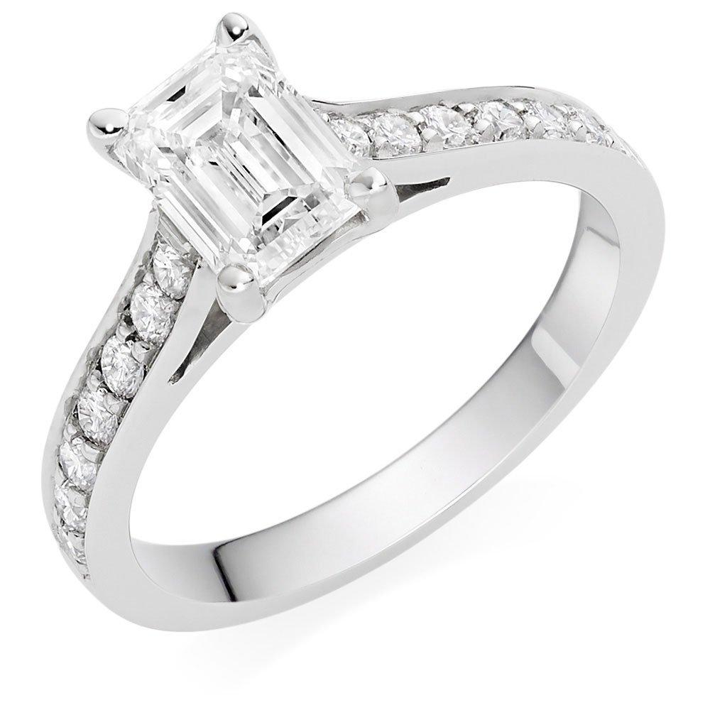 Once Platinum Diamond Emerald Cut Solitaire Ring