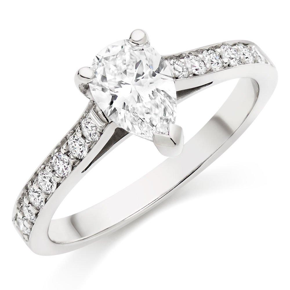 Once Platinum Pear-Shaped Diamond Solitaire Ring
