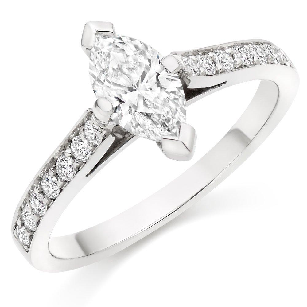 Once Platinum Marquise Diamond Solitaire Ring
