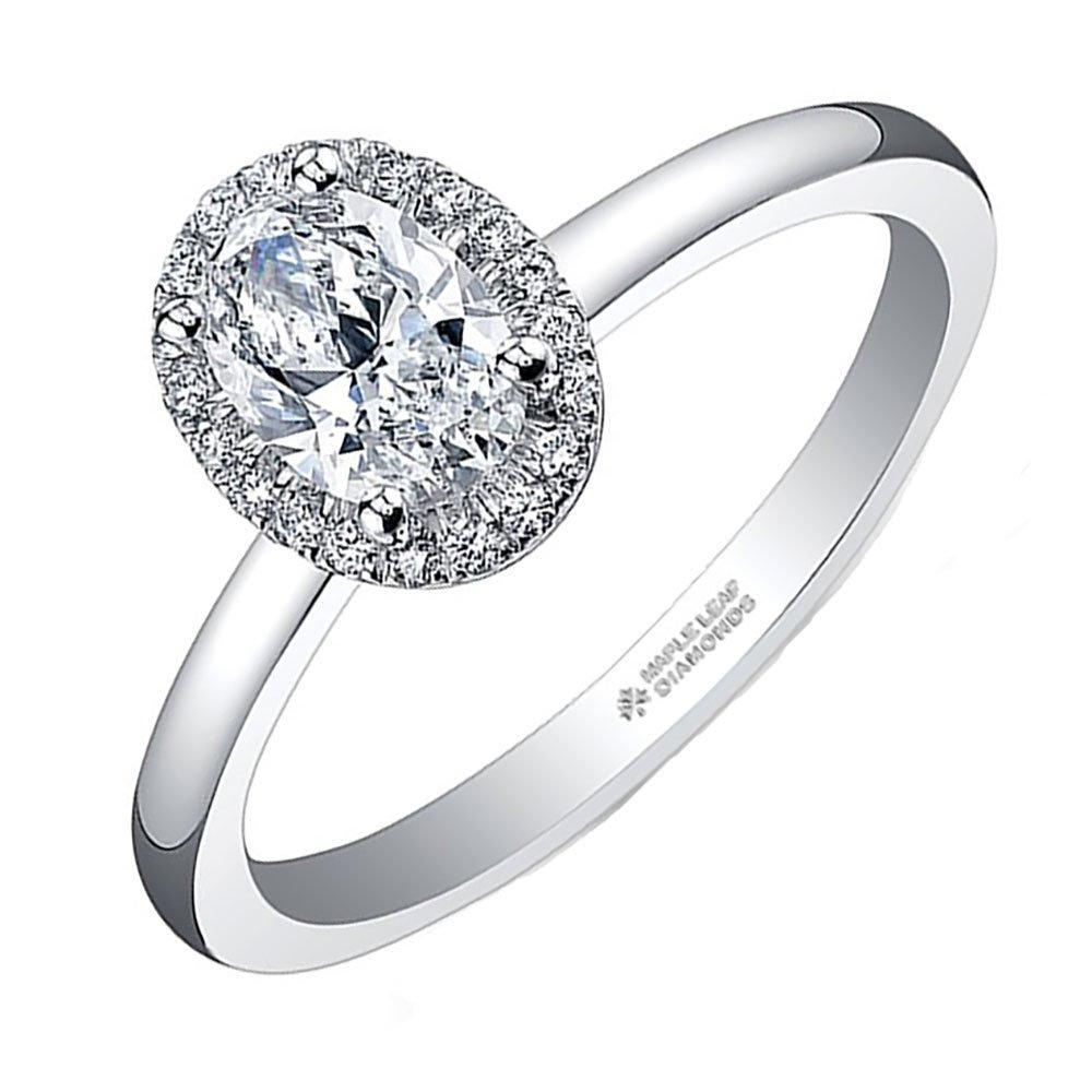 Maple Leaf Diamonds 18ct White Gold Oval Diamond Halo Ring