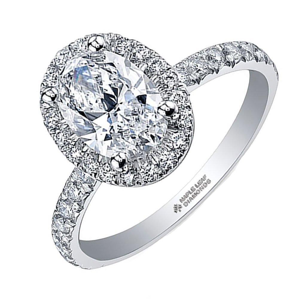 Maple Leaf Diamonds 18ct White Gold Oval Halo Diamond Halo Ring
