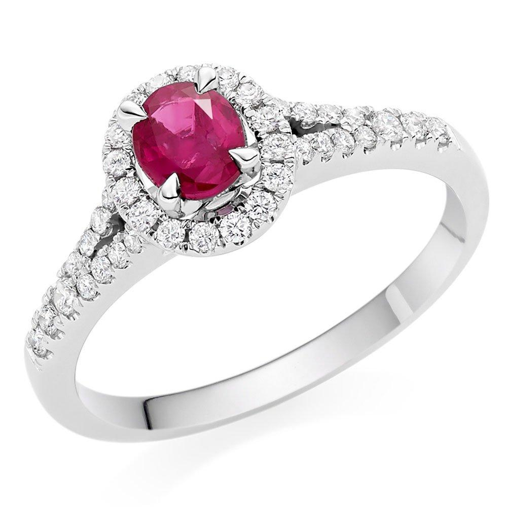 18ct White Gold Diamond Ruby Halo Ring
