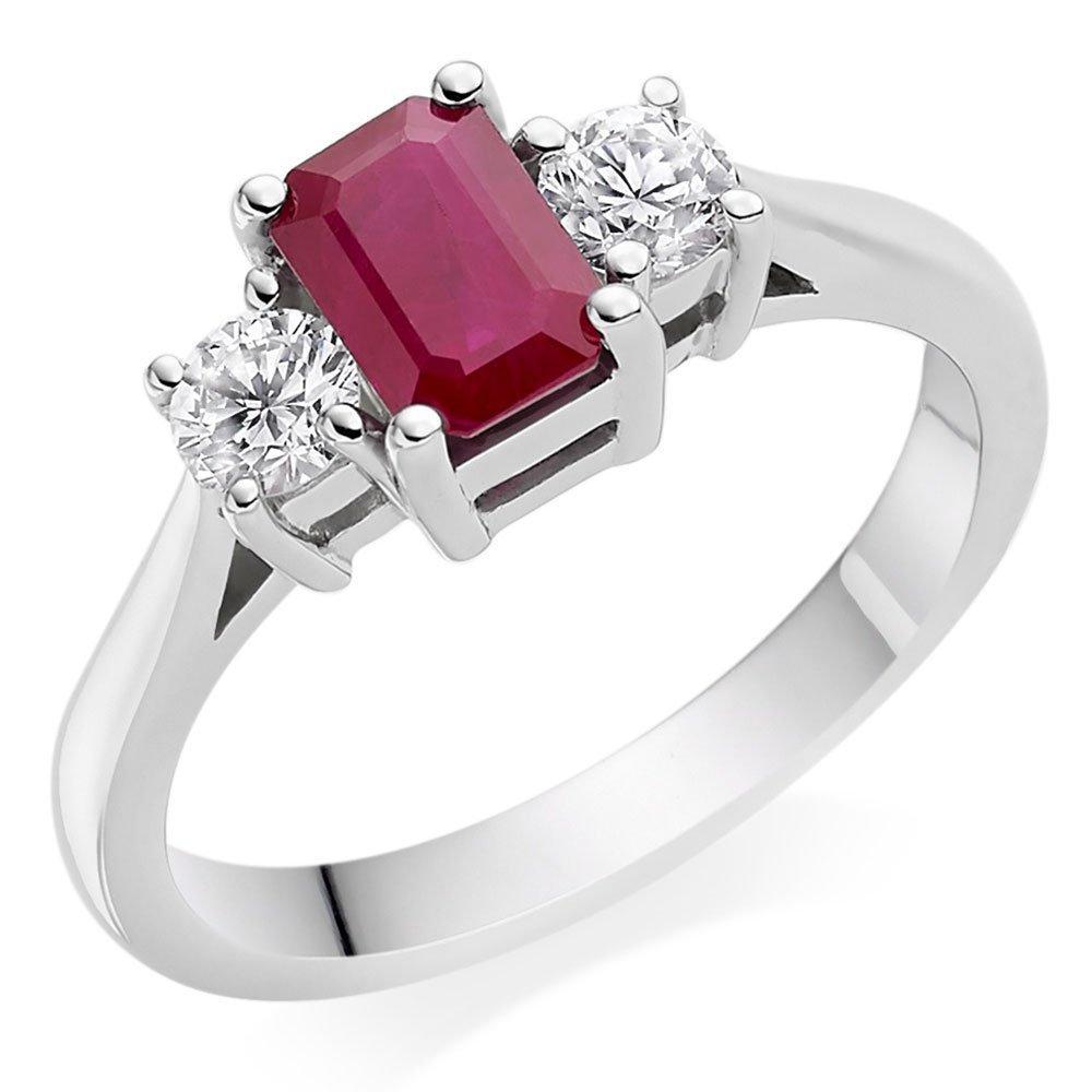 18ct White Gold Diamond Ruby Three Stone Ring