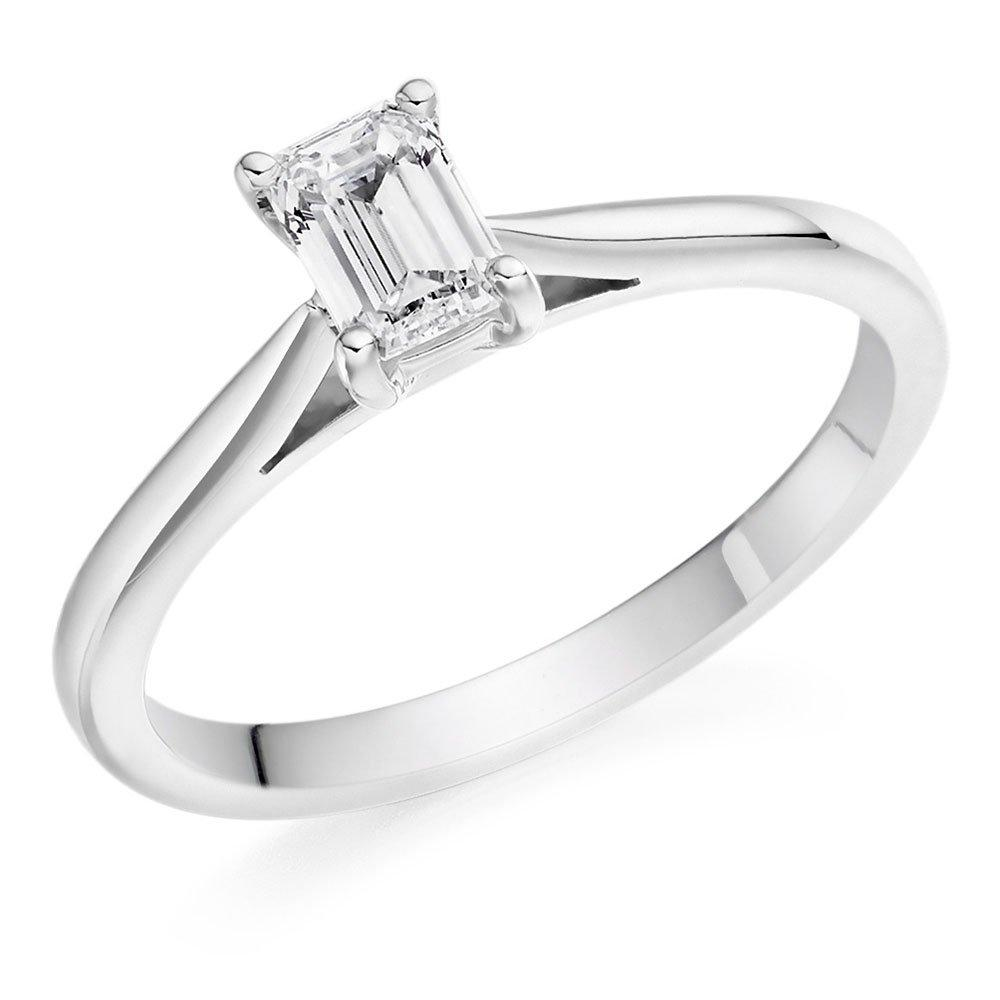 Platinum Diamond Emerald Cut Solitaire Ring