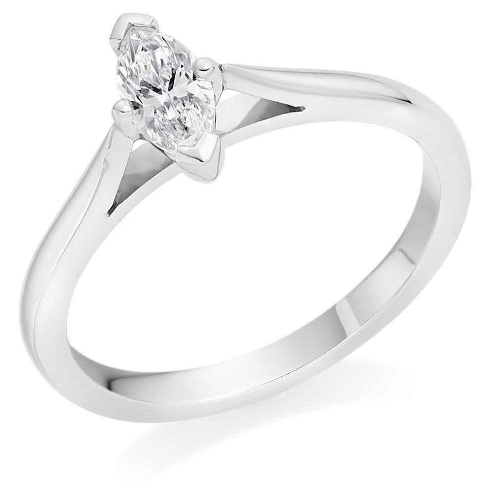 Platinum Diamond Marquise Solitaire Ring
