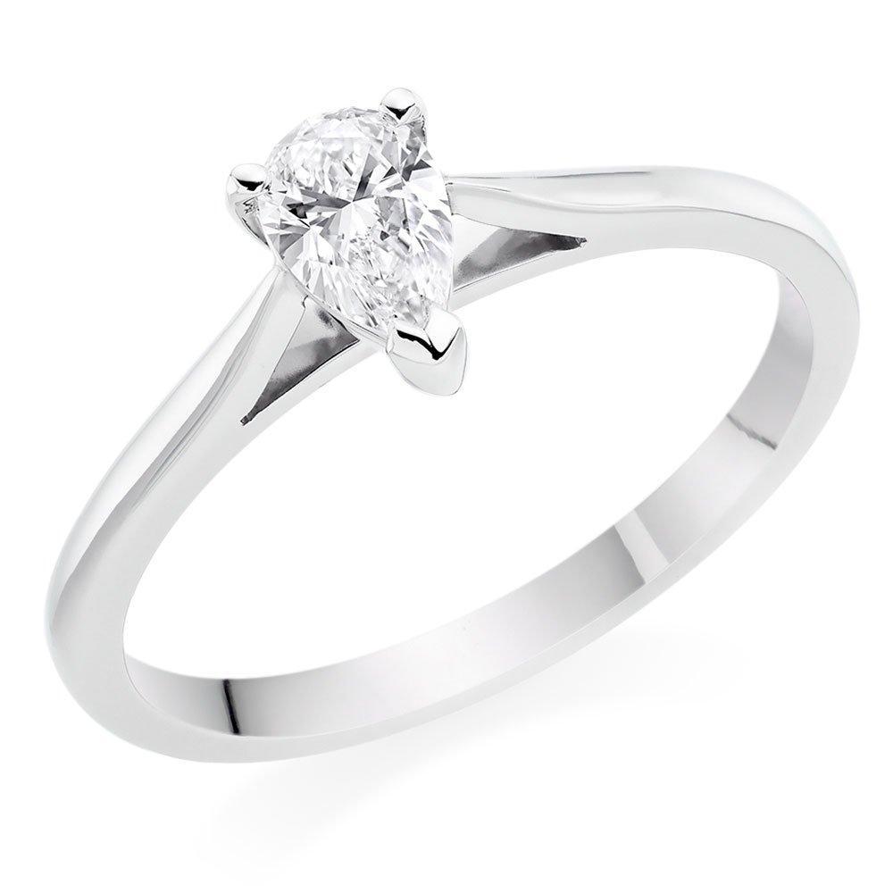 Platinum Diamond Pear Solitaire Ring