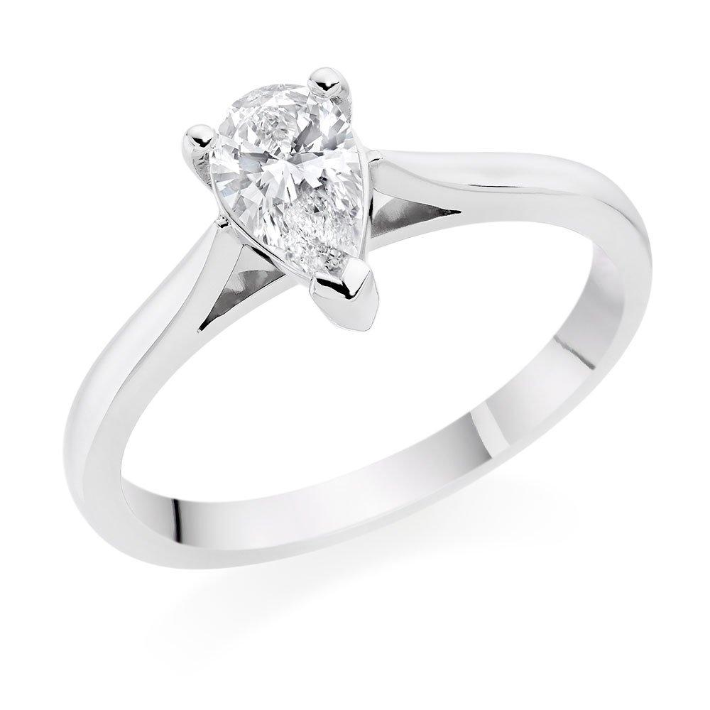 Platinum Diamond Pear-Shaped Solitaire Ring