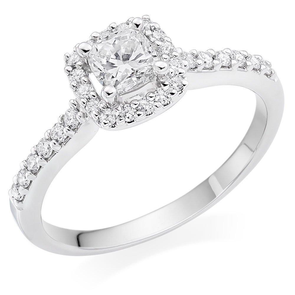 18ct White Gold Diamond Cushion Cut Halo Ring