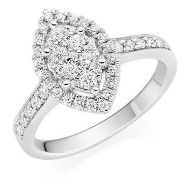 Platinum Diamond Marquise Cluster Ring
