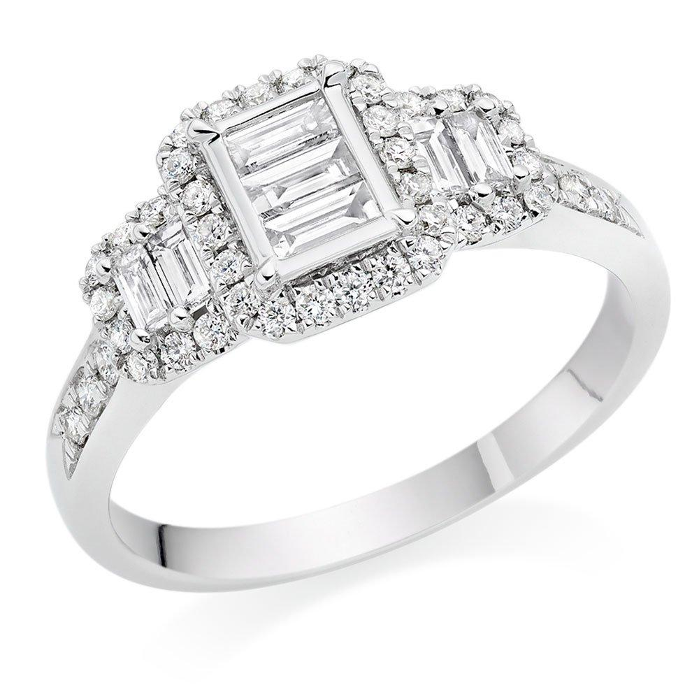 18ct White Gold Diamond Baguette Cut Three Stone Halo Ring