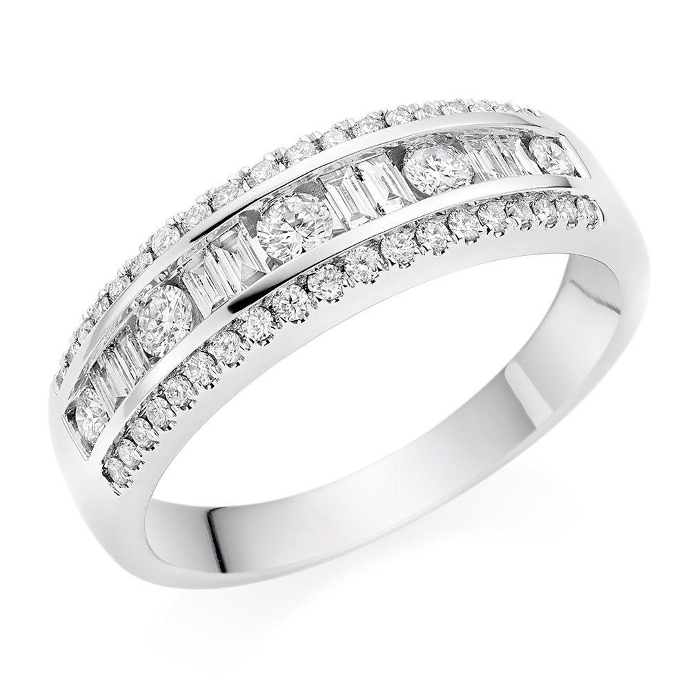 18ct White Gold Baguette Cut and Round Brilliant Diamond Half Eternity Ring