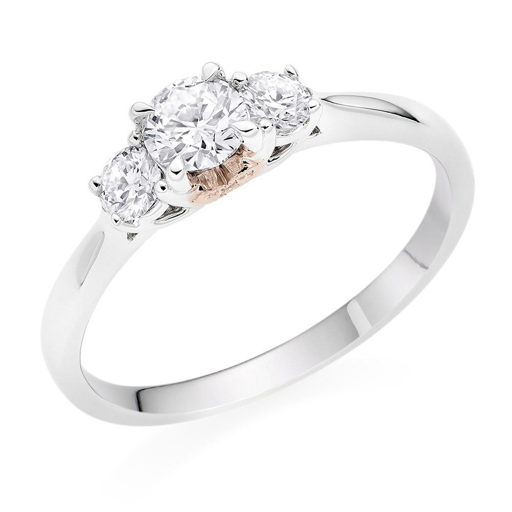 18ct White Gold and Rose Gold Diamond Three Stone Rose Hearts Ring