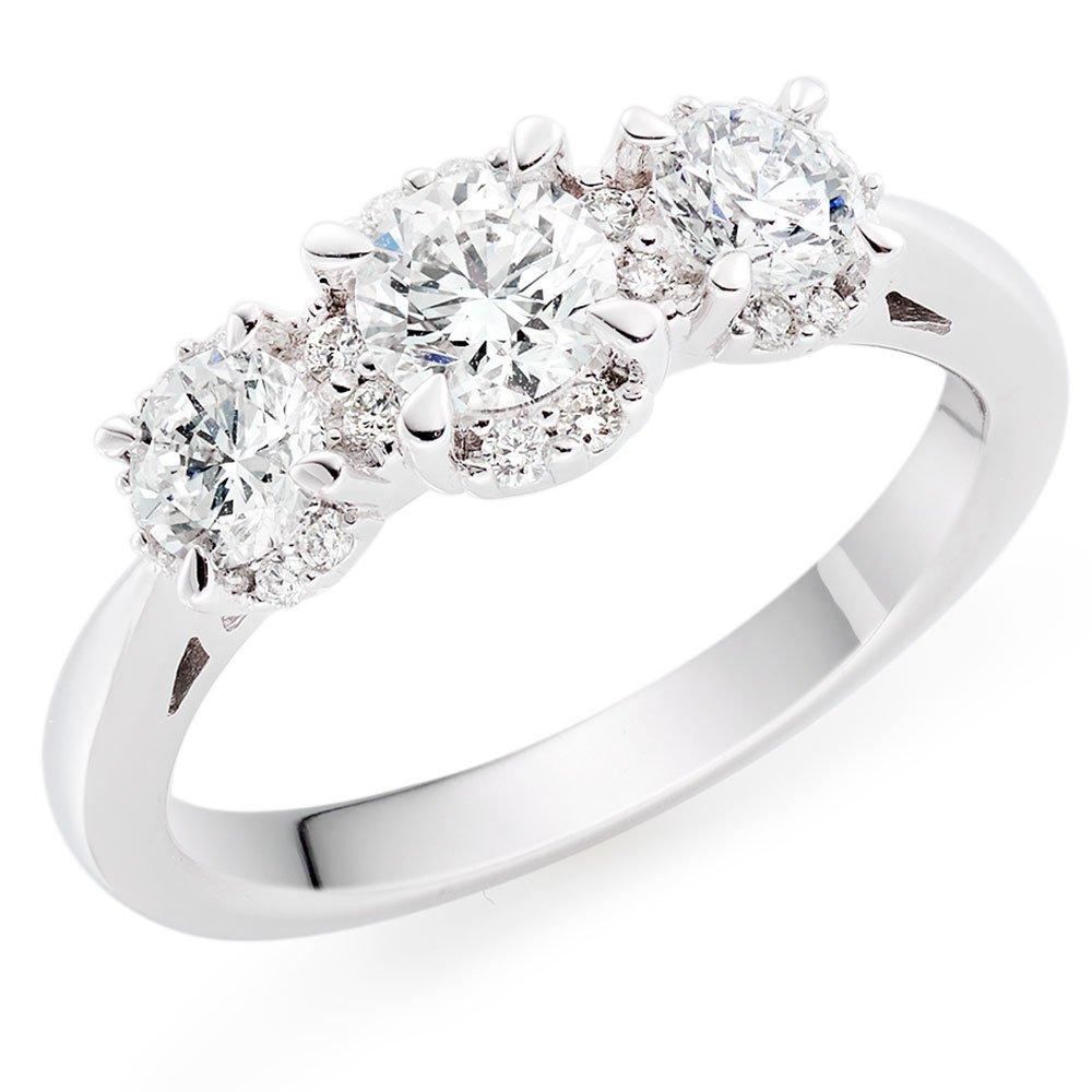 18ct White Gold Three Stone Diamond Halo Ring