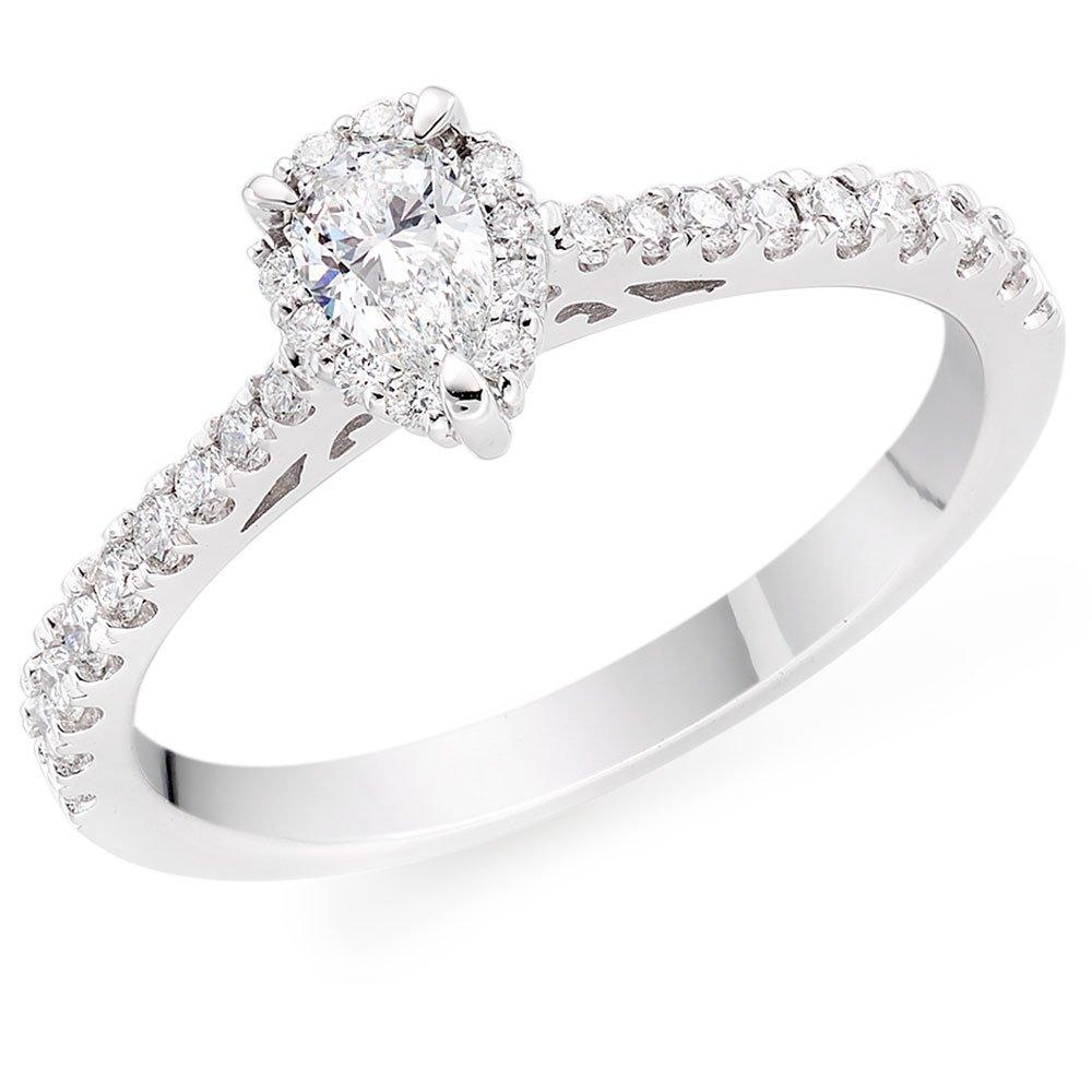 18ct White Gold Pear-Shaped Diamond Halo Ring