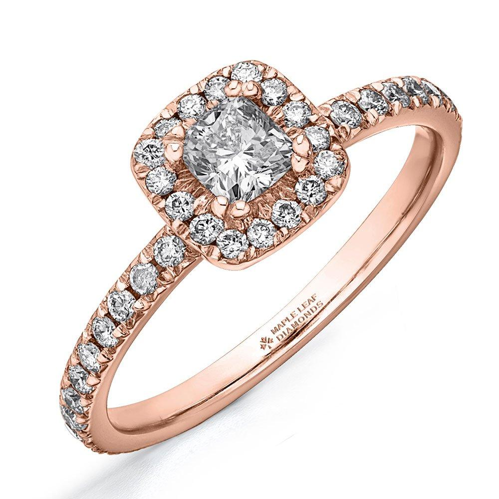 Maple Leaf Diamonds Diamonds 18ct Rose Gold Diamond Cushion Cut Halo Ring