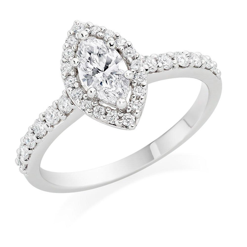 Platinum Diamond Marquise Cut Halo Ring