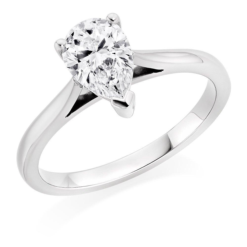 Platinum Diamond Pear-Shaped Ring